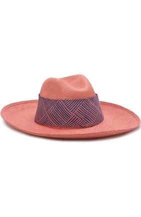 Соломенная шляпа с плетеной лентой Artesano розового цвета | Фото №1