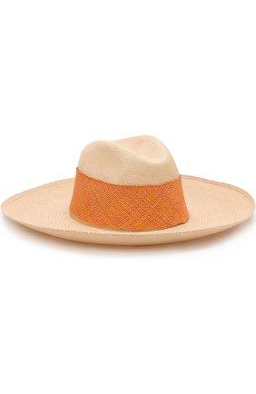 Соломенная шляпа с плетеной лентой Artesano кремвого цвета | Фото №1