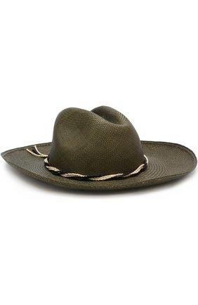 Соломенная шляпа с плетеным ремешком Artesano оливкового цвета | Фото №1