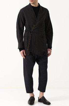Пиджак асимметричного кроя из смеси льна и хлопка Ziggy Chen темно-серый | Фото №1