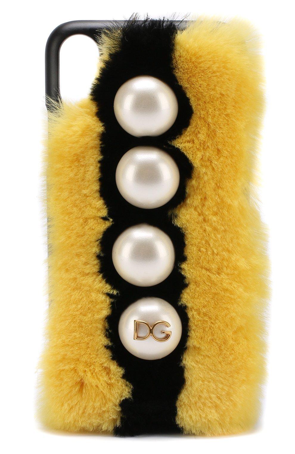 Кожаный чехол для iPhone X с отделкой из меха кролика | Фото №1