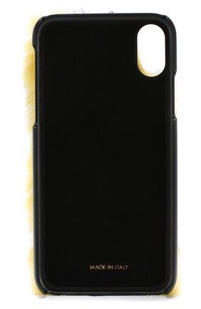 Кожаный чехол для iPhone X с отделкой из меха кролика | Фото №2