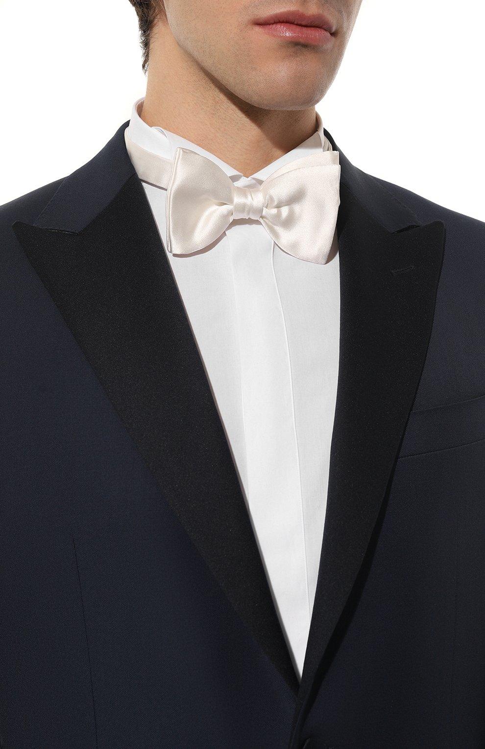 Мужской шелковый галстук-бабочка LANVIN белого цвета, арт. 1282/B0W TIE | Фото 2