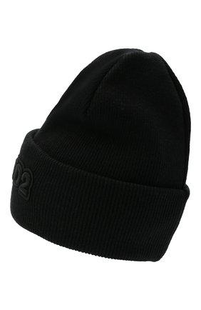 Мужская шерстяная вязаная шапкас логотипом бренда DSQUARED2 черного цвета, арт. KNM0001 15040001   Фото 2