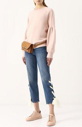 Укороченные джинсы с потертостями и контрастной шнуровкой Paige голубые   Фото №1