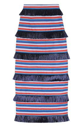 Хлопковая юбка-карандаш в полоску с бахромой | Фото №1