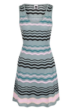 Приталенное вязаное мини-платье с круглым вырезом M Missoni зеленое | Фото №1
