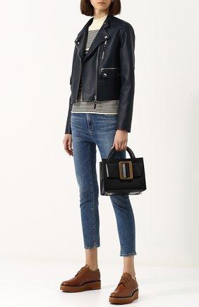 Укороченная кожаная куртка с косой молнией Yves Salomon темно-синяя | Фото №1