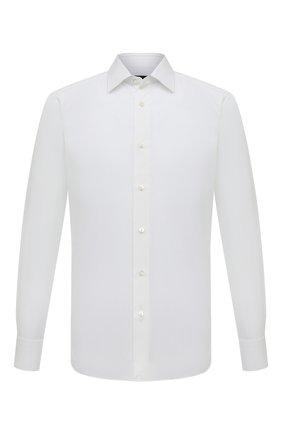 Мужская хлопковая сорочка с воротником кент ERMENEGILDO ZEGNA белого цвета, арт. 303990/9MS0PA | Фото 1