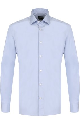 Мужская хлопковая сорочка с воротником кент ERMENEGILDO ZEGNA голубого цвета, арт. 301064/9HS0MT | Фото 1
