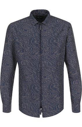 Мужская рубашка из смеси хлопка и шелка GIORGIO ARMANI темно-синего цвета, арт. WSC5HT/WS47C | Фото 1 (Длина (для топов): Стандартные; Рукава: Длинные; Материал внешний: Хлопок; Статус проверки: Проверено; Принт: Полоска; Случай: Повседневный; Воротник: Кент)