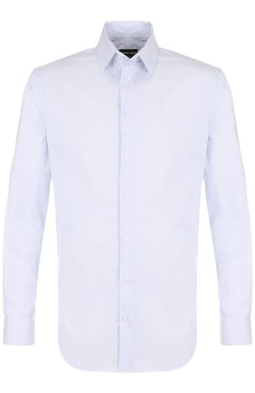 Мужская хлопковая сорочка с воротником кент GIORGIO ARMANI синего цвета, арт. WSC97T/WS63C | Фото 1