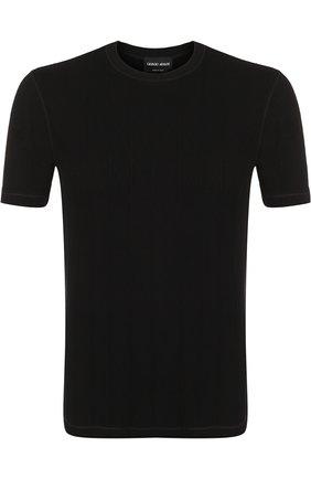 Однотонная футболка с круглым вырезом | Фото №1