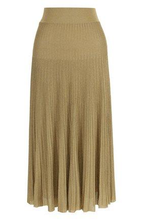 Плиссированная юбка-миди с металлизированной нитью | Фото №1