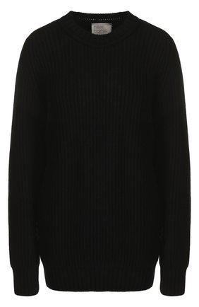 Однотонный кашемировый пуловер с круглым вырезом   Фото №1