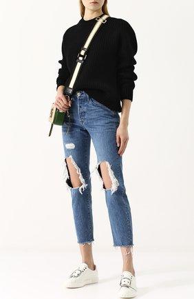 Однотонный кашемировый пуловер с круглым вырезом Hillier Bartley черный | Фото №1