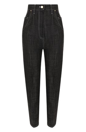 Укороченные джинсы с завышенной талией и контрастной прострочкой   Фото №1