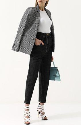Укороченные джинсы с завышенной талией и контрастной прострочкой Hillier Bartley черные | Фото №1