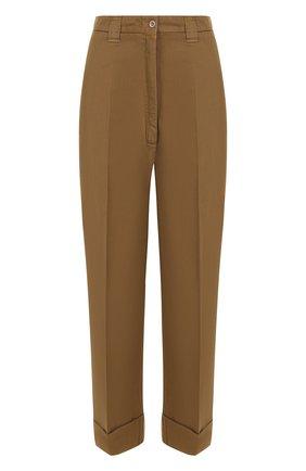 Хлопковые широкие брюки со стрелками и отворотами Acne Studios бежевые | Фото №1