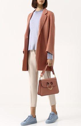 Пуловер с круглым вырезом из смеси вискозы и шерсти Acne Studios оранжевый | Фото №1