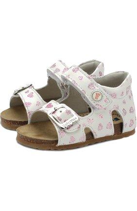 Кожаные сандалии с застежками велькро и глиттером | Фото №1