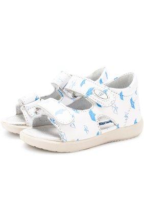 Кожаные сандалии с застежками велькро и принтом | Фото №1