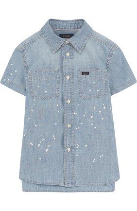 Джинсовая рубашка с принтом | Фото №1