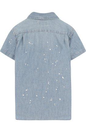 Детская джинсовая рубашка с принтом POLO RALPH LAUREN синего цвета, арт. 321691585 | Фото 2 (Рукава: Короткие; Материал внешний: Хлопок; Случай: Повседневный)