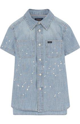 Детская джинсовая рубашка с принтом POLO RALPH LAUREN синего цвета, арт. 322691585 | Фото 1 (Рукава: Короткие; Материал внешний: Хлопок; Случай: Повседневный)