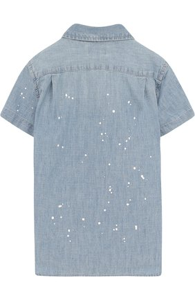 Детская джинсовая рубашка с принтом POLO RALPH LAUREN синего цвета, арт. 322691585 | Фото 2 (Рукава: Короткие; Материал внешний: Хлопок; Случай: Повседневный)