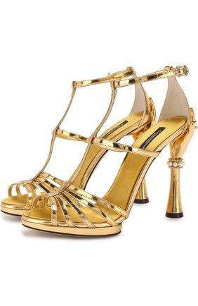Женские босоножки keira из металлизированной кожи на фигурном каблуке DOLCE & GABBANA золотого цвета, арт. CR0599/AS586 | Фото 1