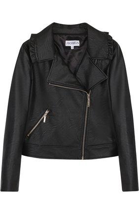 Кожаная куртка с косой молнией и оборками | Фото №1