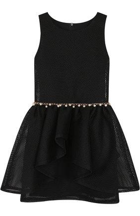 Детское приталенное мини-платье с декоративным поясом с жемчужинами David Charles розового цвета | Фото №1