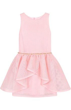 Приталенное мини-платье с декоративным поясом с жемчужинами   Фото №1
