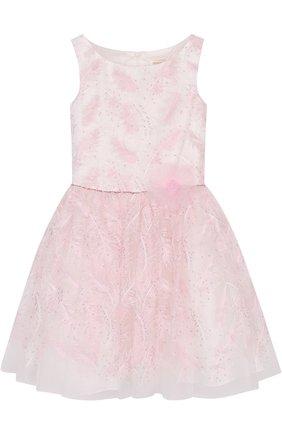 Многослойное платье с вышивкой пайетками и поясом из страз | Фото №1
