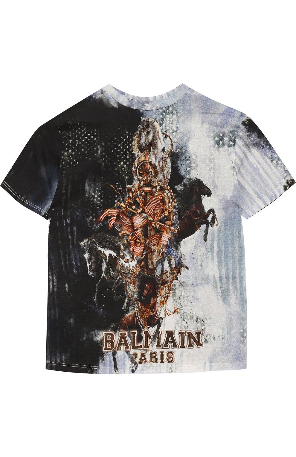 3dbf343d341 Детская хлопковая футболка с принтом BALMAIN разноцветного цвета ...