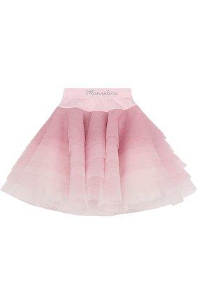 Многослойная юбка с глиттером и стразами на поясе   Фото №1