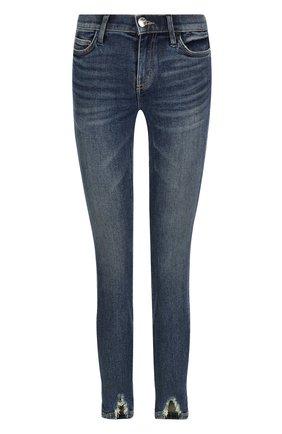 Укороченные джинсы-скинни с потертостями Current/Elliott синие   Фото №1
