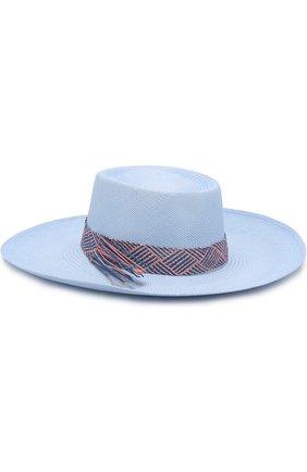 Соломенная шляпа с плетеной лентой Artesano голубого цвета | Фото №1