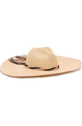 Соломенная шляпа с плетеной тесьмой Artesano кремвого цвета | Фото №1