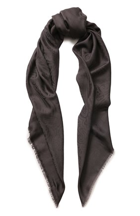 Платок из смеси шерсти и шелка с узором Emilio Conte белый   Фото №1