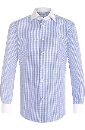 Мужская хлопковая сорочка с воротником кент KITON синего цвета, арт. UCIH0632110000 | Фото 1