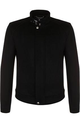 Мужская куртка из смеси кашемира и замши с воротником-стойкой DOLCE & GABBANA черного цвета, арт. G9JW2T/FUBA5 | Фото 1