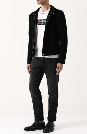 Мужская куртка из смеси кашемира и замши с воротником-стойкой DOLCE & GABBANA черного цвета, арт. G9JW2T/FUBA5 | Фото 2