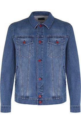 Мужская джинсовая куртка с декоративными потертостями KITON синего цвета, арт. UW0374V08P1401007 | Фото 1