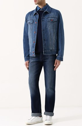 Джинсовая куртка с декоративными потертостями Kiton синяя | Фото №1