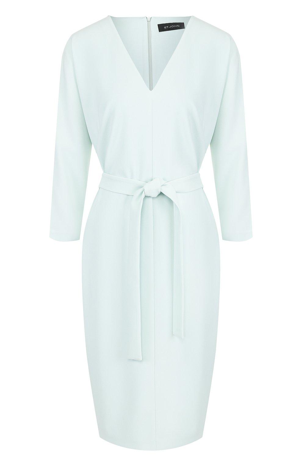 Однотонное платье-миди с поясом и V-образным вырезом | Фото №1