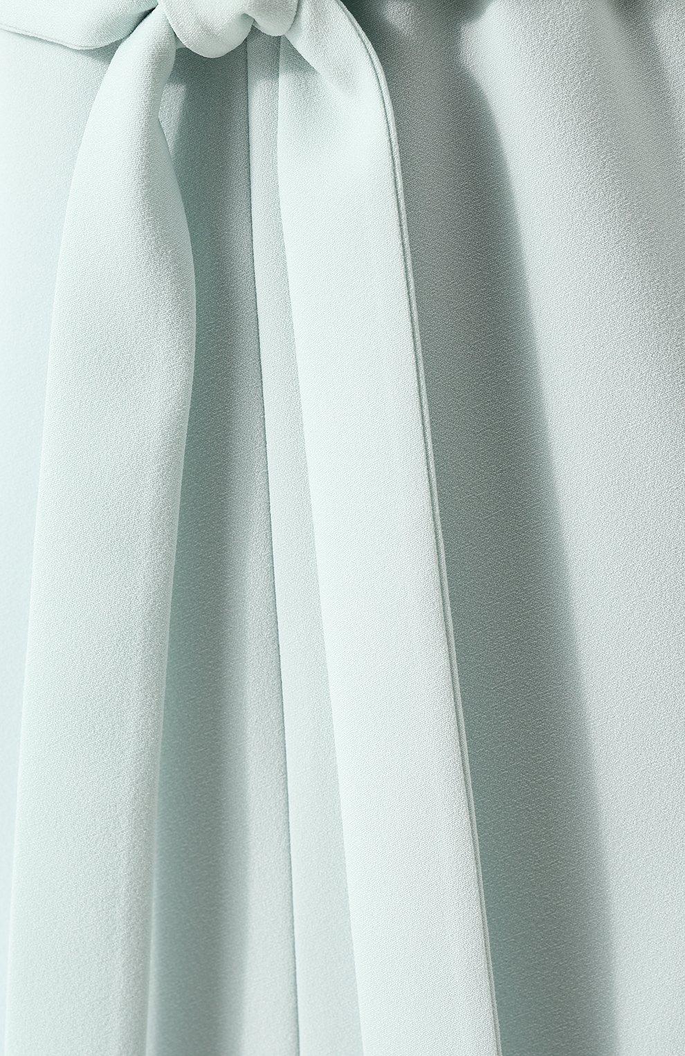 Однотонное платье-миди с поясом и V-образным вырезом St. John светло-зеленое | Фото №5