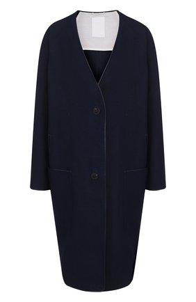 Женское пальто свободного кроя из смеси хлопка и льна TWINS FLORENCE синего цвета, арт. TFS18GB06B | Фото 1