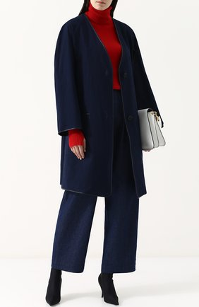 Женское пальто свободного кроя из смеси хлопка и льна TWINS FLORENCE синего цвета, арт. TFS18GB06B | Фото 2